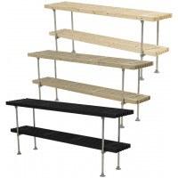PLUS - Tralle grill- og anrettebord med hylde - 3 varianter - 49x220x90 cm