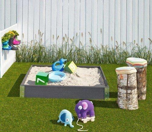 Komplet pakke: Sandkasse i composit inkl. sand, net og fiberdug