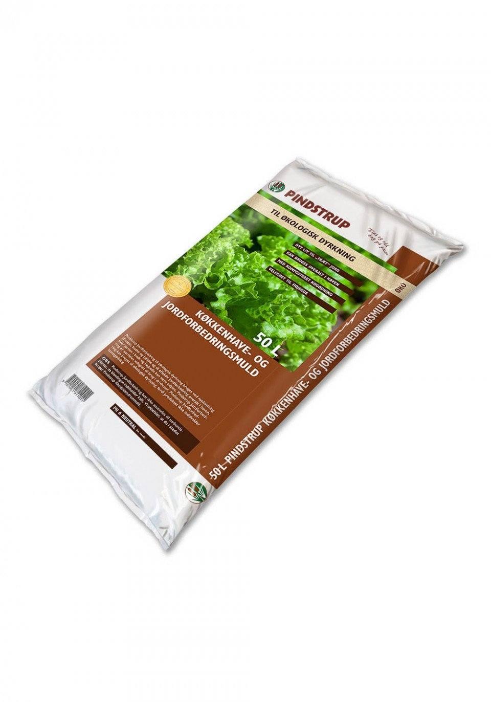 9aff73a24 Pindstrup Køkkenhave- og jordforbedringsmuld til økologisk dyrkning - 50  liter